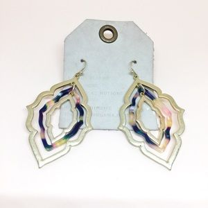 NWT Anthropologie Resin Metal Drop Earrings